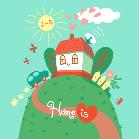Home is where your heart is. Card with cute house and car. Vector illustration