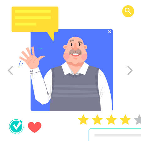 Portrait of Man - graphic avatars for social networking or dating site. The grandfather waves his hand in greeting Vector illustration