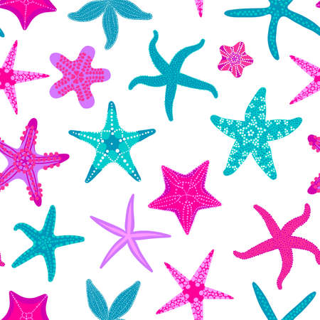 Sea stars pattern, Marine and nautical backdrop with starfishes. Illustration