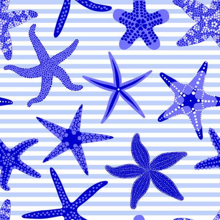 海の星のシームレスなパターン。ヒトデと海洋縞模様の背景。ヒトデ水中無脊椎動物。ベクトル図