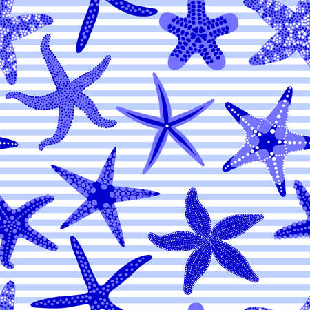 Sea stars seamless pattern. Marine striped backgrounds with starfishes. Starfish underwater invertebrate animal. Vector illustration Illustration