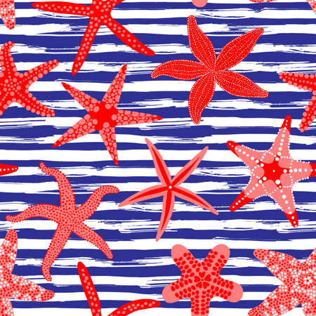 Sea stars seamless pattern. Marine backgrounds with starfishes and striped brush strokes. Starfish underwater invertebrate animal. Vector illustration Çizim