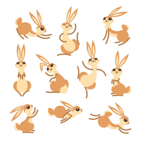 Cartoon cute rabbit or hare. Little funny rabbits. Vector illustration grouped and layered for easy editing Vectores
