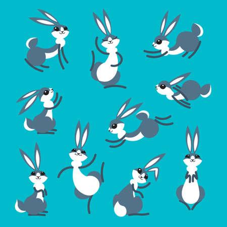 Cartoon cute rabbits vector illustration set