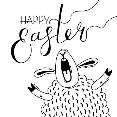 Funny lamb screams with Happy Easter writing template  イラスト・ベクター素材