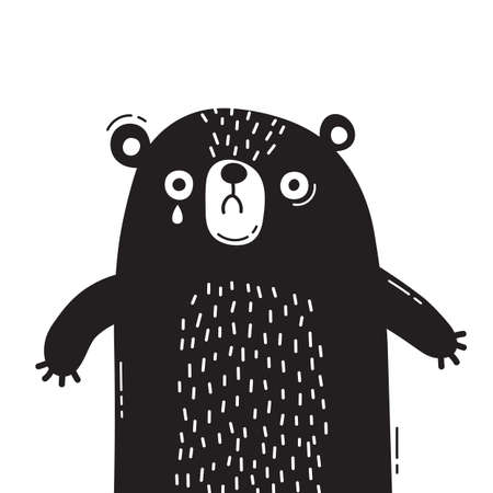 Sad, frightened bear cub is crying. Concept of protecting animals. Vector illustration 向量圖像