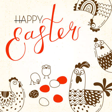 Funny chickens and rooster, eggs. Greeting card with Happy Easter writing. Vector illustration. Stock Illustratie