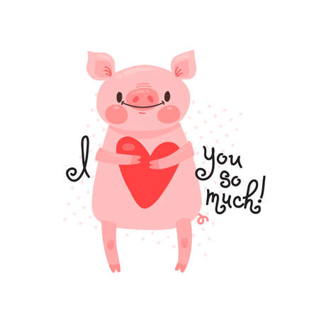Sweet pig declaration I love you so much card design Illustration
