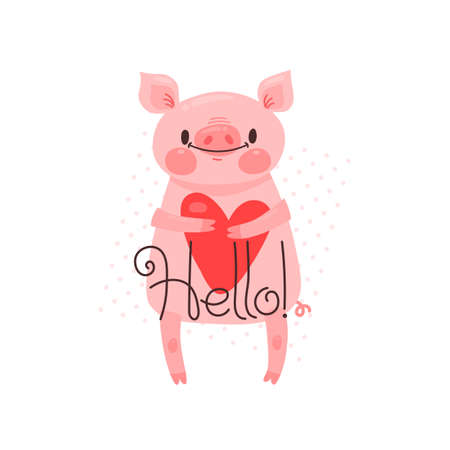 Greeting card with cute piglet. Sweet pig says hello. Vector illustration.