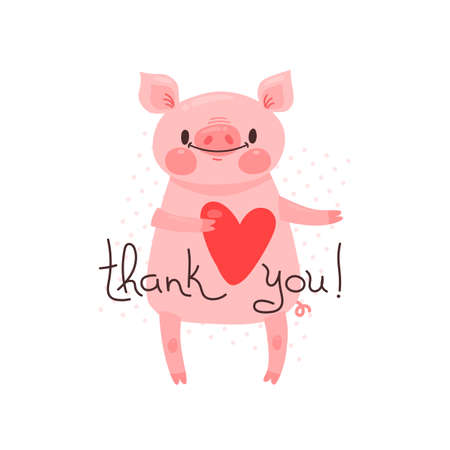 Illustration with joyful piggy who says - thank you. For design of funny avatars, posters and cards. Cute animal in vector. Çizim