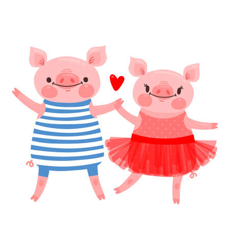 Couple of sweet piglets. Character design pig in ballet skirt and a hog in the vest. Vector illustration. Stock Vector - 100812616