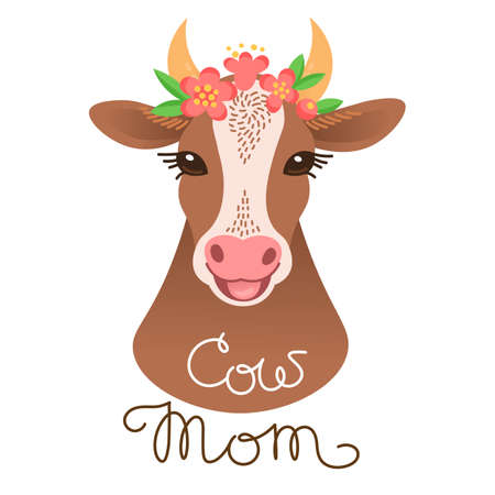 Cute cow portrait, calf character in cartoon style. Illustration
