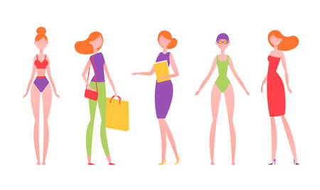 Red-haired woman in different styles of clothes, with different hairstyles and poses. Model in simple flat abstract style. Vector illustration