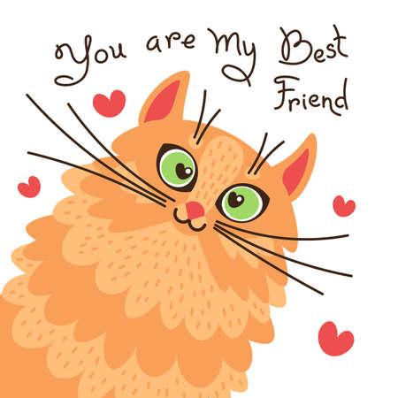 Gato rojo, eres mi mejor amigo. Tarjeta con gatito de jengibre dulce. Ilustración vectorial