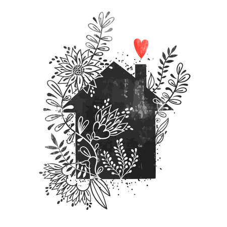Hand drawn typography poster. Vector illustration with black house silhouette, floral elements and heart. Vintage card with home and flowers. Illustration