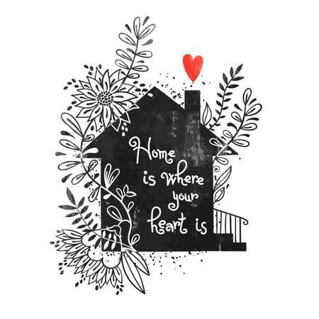 Hand getekende typografie poster. Vectorillustratie met zwart huissilhouet, bloemenelementen en tekst Thuis is waar je hart is. Vintage kaart met huis en bloemen.