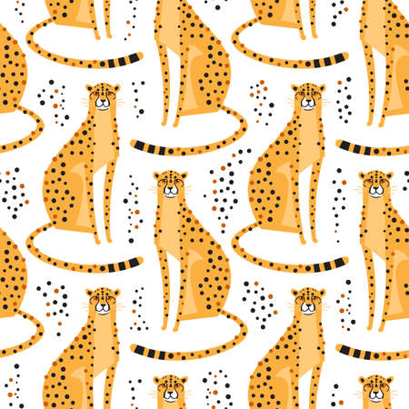 Seamless pattern with cheetahs, leopards. Repeating exotic wild cats on a white background. Vector illustration Foto de archivo - 105543615