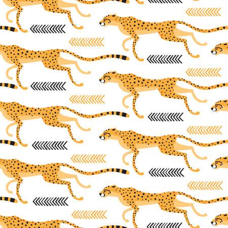 Nahtloses Muster mit laufenden Geparden, Leoparden. Wiederholte exotische Wildkatzen auf einem weißen Hintergrund. Vektorillustration