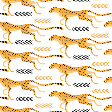 Seamless pattern with running cheetahs, leopards. Repeating exotic wild cats on a white background. Vector illustration Illustration