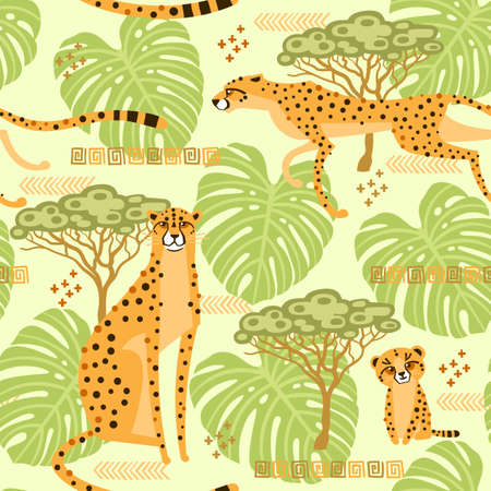 Seamless pattern with cheetahs, leopards in the jungle. Repeated exotic wild cats in the background of the savannah. Vector stylized travel illustration 일러스트