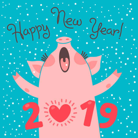 Happy 2019 New Year card. Funny piglet congratulates on holiday. Pig Chinese zodiac symbol of the year. Vector illustration in cartoon style Illustration
