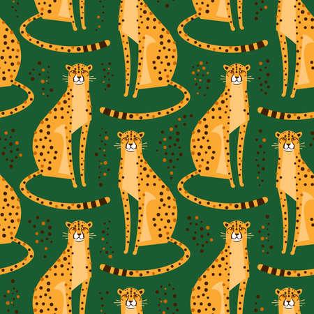 Modello senza cuciture con ghepardi, leopardi. Ripetuti gatti selvatici esotici su uno sfondo verde. Illustrazione vettoriale