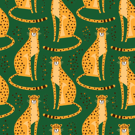 Seamless pattern with cheetahs, leopards. Repeated exotic wild cats on a green background. Vector illustration Çizim