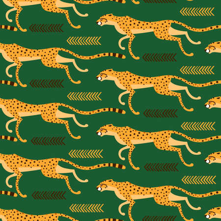 Seamless pattern with running cheetahs, leopards. Repeated exotic wild cats on a green background. Vector illustration Illustration