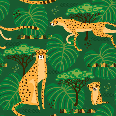 Seamless pattern with cheetahs, leopards in the jungle. Repeated exotic wild cats in the background of the savannah. Vector stylized travel illustration  イラスト・ベクター素材