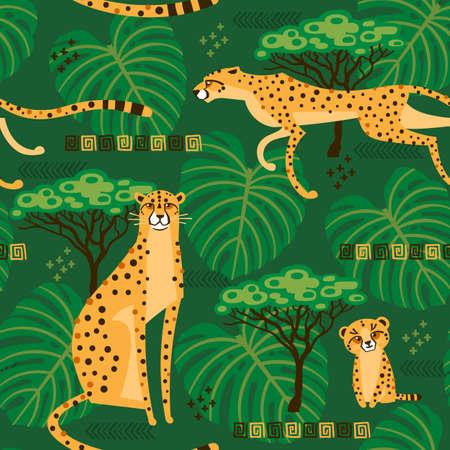 Nahtloses Muster mit Geparden, Leoparden im Dschungel. Wiederholte exotische Wildkatzen im Hintergrund der Savanne. Vektor stilisierte Reiseillustration Vektorgrafik