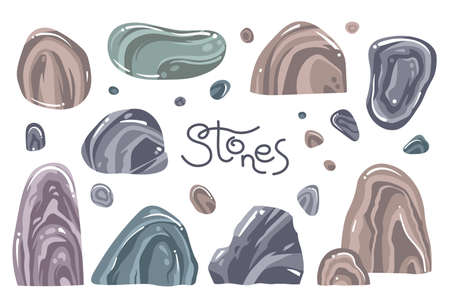 A set of different stones in the cartoon style. Isolated over white background rocks. Vector illustration. Archivio Fotografico - 112079918
