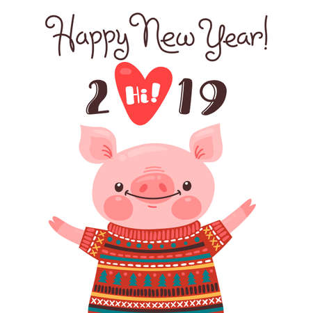 Happy 2019 New Year card. Funny piglet congratulates on holiday. Pig Chinese zodiac symbol of the year. Vector illustration in cartoon style Ilustração