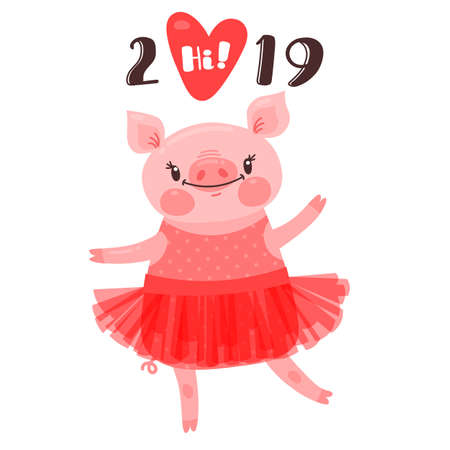 2019 Happy New Year card design. Symbol of the Chinese calendar cute pig greets with love. Dancing piglet in a ballet tutu. Vector illustration in cartoon style.