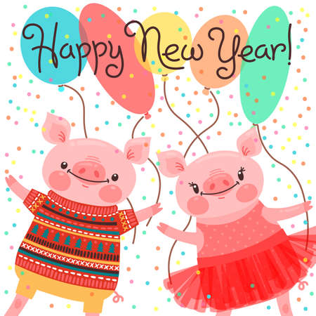 Happy 2019 New Year card. Couple of funny piglets congratulate on the holiday. Pig in ballet tutu and boar in sweater. Pig Chinese zodiac symbol of the year. Vector illustration in cartoon style Stock Vector - 106212176
