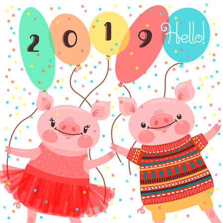 Happy 2019 New Year card. Couple of funny piglets congratulate on the holiday. Pig in ballet tutu and boar in sweater. Pig Chinese zodiac symbol of the year. Vector illustration in cartoon style