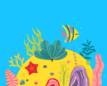 Background with ocean bottom, corals reefs, seaweed. Vector abstract illustration of an underwater landscape in a cartoon style. Stockfoto - 111875332