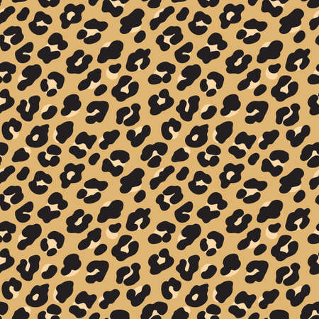 Leopard print. Brown black fur seamless pattern. Vector illustration background Archivio Fotografico - 107674743