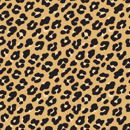 Leopardenmuster. Nahtloses Muster des braunen schwarzen Pelzes. Vektorillustrationshintergrund Vektorgrafik