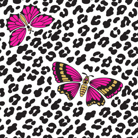 Leopard print and butterflies. Seamless pattern. Vector illustration background Stock Illustratie