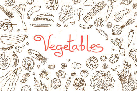 Background with various vegetables and an inscription for menu design, recipes and product packaging. Vector illustration. Zdjęcie Seryjne - 109924391