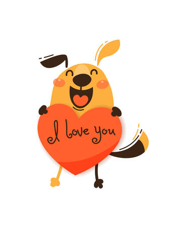 A happy dog with a valentine and message I love you. Vector illustration in cartoon style.