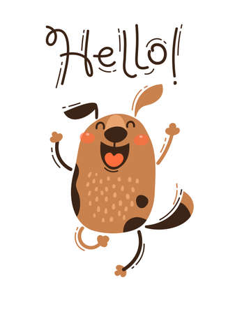 A happy dog greets you Hello. Vector illustration in cartoon style.