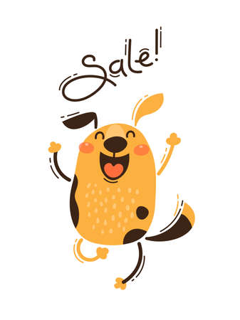 A joyful dog reports a sale. Vector illustration in cartoon style.