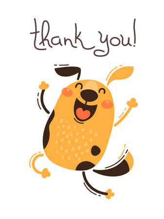 Perro gracioso dice gracias. Ilustración de vector de estilo de dibujos animados. Ilustración de vector