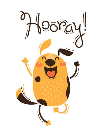 Funny dog yells Hooray. Vector illustration in cartoon style.