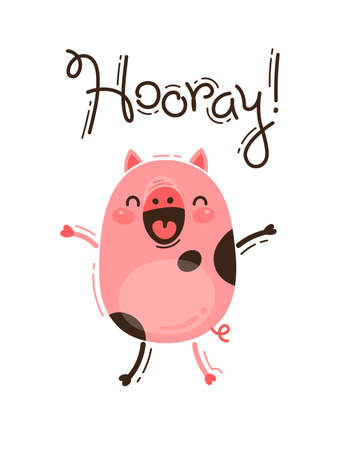 Funny pig yells Hooray. Happy Pink Piglet. Vector illustration in cartoon style.
