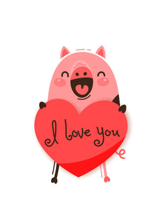 A happy pig with a valentine and message I love you. Vector illustration in cartoon style.