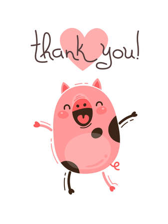 Funny pig says thank you. Happy Pink Piglet. Vector illustration in cartoon style.