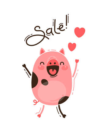 A joyful pig reports a sale. Happy Pink Piglet. Vector illustration in cartoon style. Stock Photo