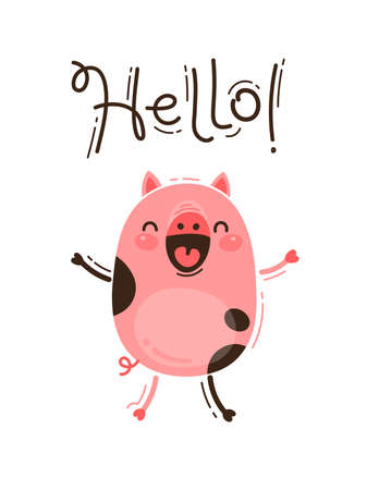 Funny pig greets you Hello. Happy Pink Piglet. Vector illustration in cartoon style. Banco de Imagens